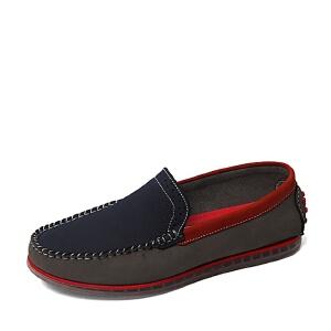 Belle/百丽夏季专柜同款蓝色/灰色磨砂牛皮男休闲鞋4LL02BM6