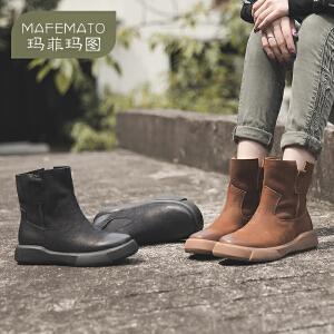 玛菲玛图秋冬平底马丁靴厚底女短靴单靴子女文艺时尚短筒靴潮大码马丁靴009-17