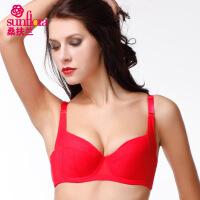 桑扶兰薄款光面聚拢调整型纯色文胸红色女士内衣专柜正品AZA06