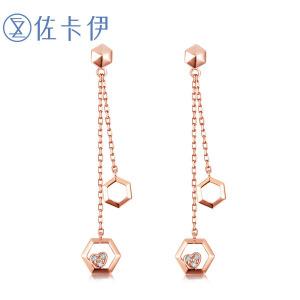 佐卡伊玫瑰18K金钻石耳环长款女款耳饰耳坠正品巢系列