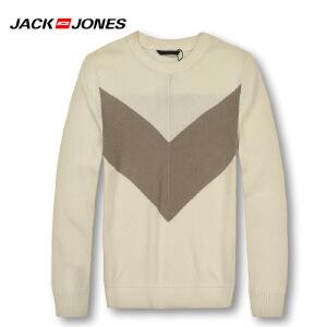 杰克琼斯春秋男士简约潮流时尚拼色套头针织衫23-3-1-213124016021