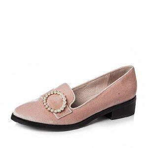 BASTO/百思图2017春季专柜同款绒布简约复古方跟女浅口鞋TYD24AQ7