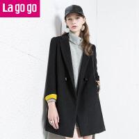 Lagogo/拉谷谷冬季新款双排扣中长款纯色毛呢大衣 EDH973B206