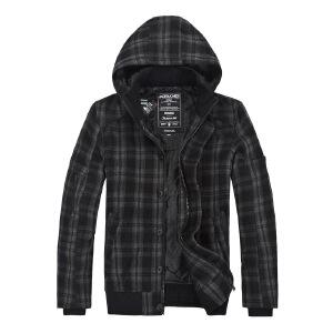 杰克琼斯棉服秋冬季男士时尚格纹休闲百搭羊毛外套34-2-1-211427027101