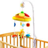 橙爱奇趣森林音乐床铃 布艺旋转毛绒床铃八音盒0-1岁婴儿安抚玩具