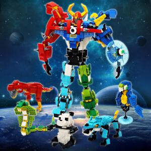 启蒙 乐高式拼插积木玩具 机甲战士五合一 儿童玩具
