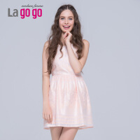 Lagogo/拉谷谷秋季新款无袖圆领钉珠蕾丝连衣裙EBB957G709
