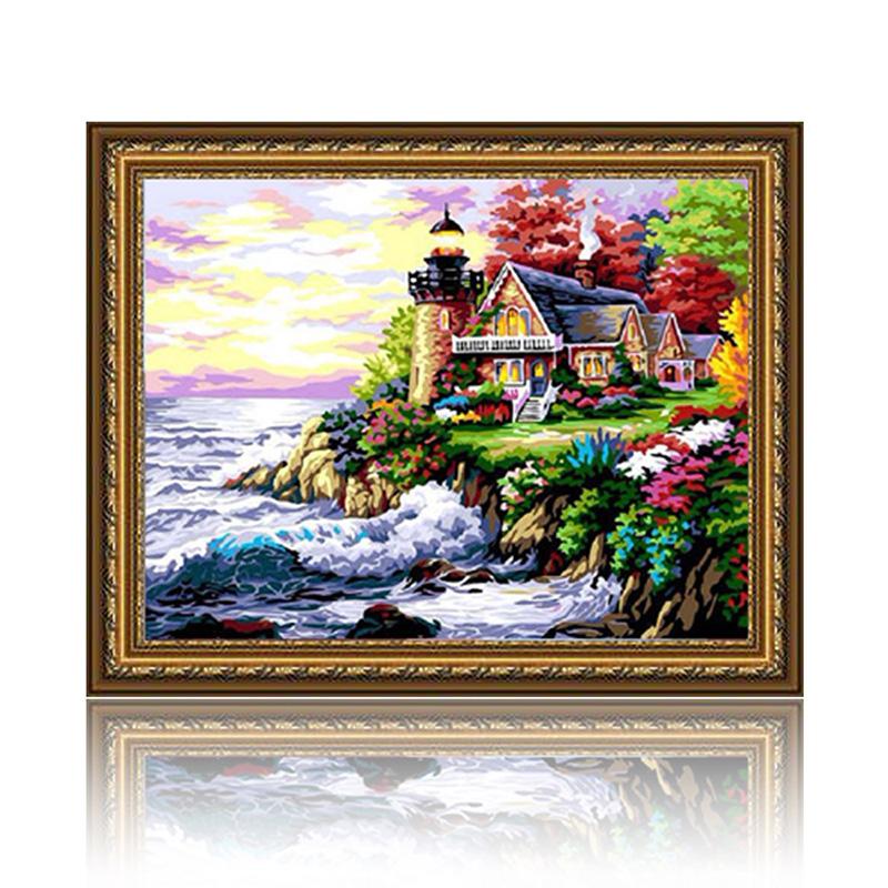绘画 舞动色彩绘画 舞动色彩 神仙小岛 diy数字油画风景彩绘装饰画 w0