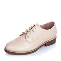 Tata/他她专柜同款牛皮系带女单鞋2I2A3CM5