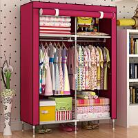 索尔诺加高脚布衣柜 单人防潮简易衣柜 加固宜家儿童衣橱8503