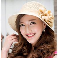 渔夫盆帽礼帽 时尚翻边草编帽子 女士花朵遮阳凉帽