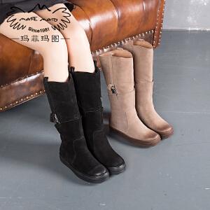 【跨店铺满200-100】玛菲玛图秋冬加绒高筒靴女靴子中跟平底套筒靴女士马丁靴362-2N