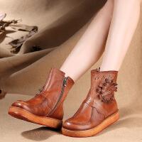 汇族美手工原创平底圆头特色女短筒靴真皮休闲女靴火热促销