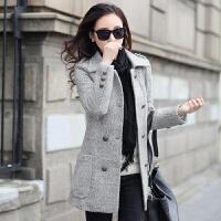 实拍韩版休闲时尚女装毛呢大衣加绒加厚女士修身中长款外套