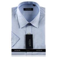 雅戈尔全棉蓝色千鸟格免烫短袖衬衫SDP14671-22