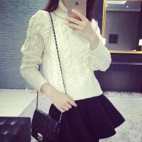 高领毛衣女秋冬加厚短款学生冬款女士针织打底衫韩国套头线衣粗线