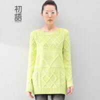初语 冬装新款女装 针织衫女中长款套头毛衣女款韩版8430423042