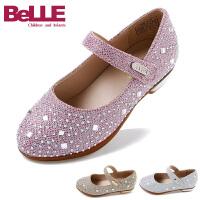 百丽童鞋女童公主鞋小码低跟皮鞋女方跟时尚彩钻2016春季新款