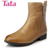 Tata/他她专柜同款油蜡羊皮女短靴YW55DDD4