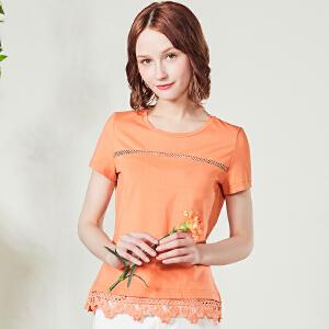 艾蓓怡2017新款女装淑女纯色蕾丝t恤女短袖韩版学生百搭通勤DTXD170703