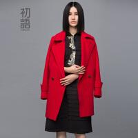 初语冬季新款 长袖毛呢外套女中长款大衣女8431224020
