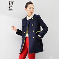 初语冬季新款 文艺大码女装学院风修身显瘦款毛呢外套上衣女8431224047