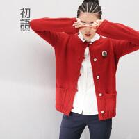 初语冬新款学院风大码女装纯色宽松圆领长袖开衫毛衣外套女8430413130