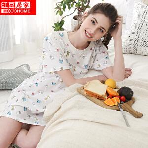 红豆居家纯棉睡衣女士 春夏全棉可外穿爱心印花短袖睡裙