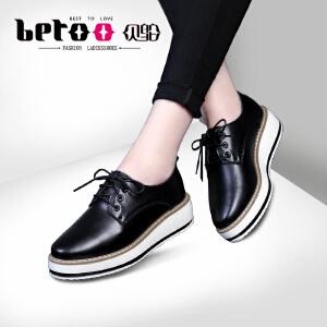 贝鸵秋冬系带单鞋坡跟缝线厚底休闲鞋平底小白鞋黑色明星同款0625