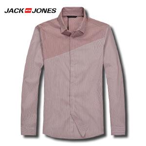 杰克琼斯春秋男士商务拼接撞色百搭休闲衬衫16-1-10-213105017073