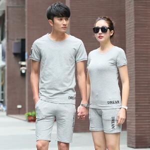 夏季男士休闲运动套装女情侣款T恤短袖短裤运动服白色圆领夏天运动服装