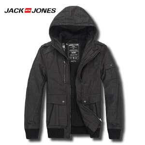 杰克琼斯秋冬季男士简约纯色修身连帽百搭棉服外套41-5--211422028010