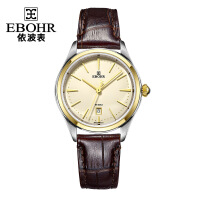 依波(EBOHR)天翼系列轻奢18K金圈金色钉瑞士机芯香槟面皮带石英女表女士手表10870143