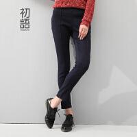 初语2016冬季新款 复古立体芽边分割显瘦修身牛仔裤女8431815024