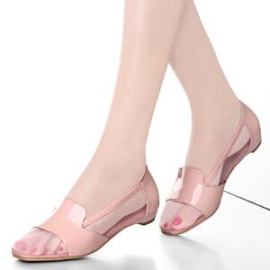 贝鸵秋新真皮女鞋女式平底网纱单鞋低帮拼色牛皮鞋子简约软底5008
