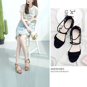 阿么2017夏季新款一字带韩版中跟凉鞋女交叉带扣露趾粗跟罗马鞋子
