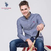 条纹衬衫男长袖纯棉竖条青年春秋装休闲商务衬衣男士美国马球协会