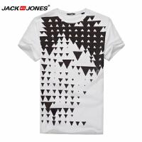 杰克琼斯时尚休闲百搭针织T恤JackJones时尚修身纯棉T恤衫白色