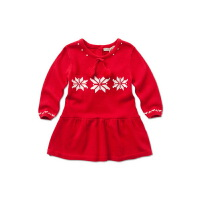 davebella女宝宝秋冬季圣诞节长袖连衣裙 新生婴儿纯棉裙