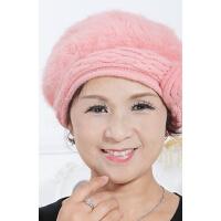 中老年人帽老人帽女 兔毛帽子女士贝雷帽 冬天时尚保暖毛线帽
