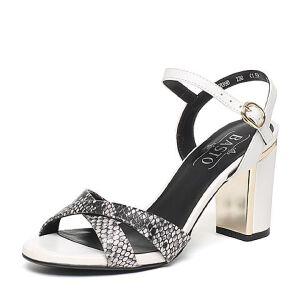 BASTO/百思图夏季专柜同款羊皮优雅粗高跟女凉鞋16B39BL6