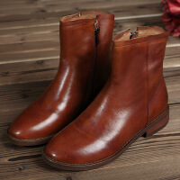 秋冬复古短靴子圆头真皮牛皮靴子鞋子平底拉链女士裸靴潮女靴