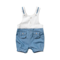 davebella戴维贝拉女宝宝婴儿夏装新款背带连体裤子 短爬