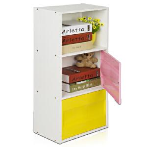 [当当自营]慧乐家 三层二门彩色收纳柜12184 白色+粉色+黄色  书架书柜 收纳储物柜子 优品优质