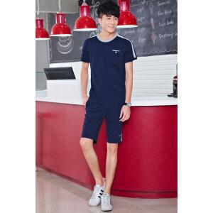 夏季纯棉运动套装男圆领短袖T恤短裤运动服修身休闲套装