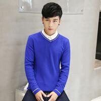 唐裳男士青少年毛衣学生线衣V领韩版纯棉针织衫男装纯色长袖毛线衫潮