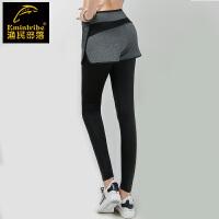 跑步裤健身裤弹力瑜伽裤子夏运动紧身长裤女高腰假两件速干压缩裤