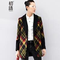初语冬季新款  超细腻厚实三色格纹拼色中长西装款羊毛呢大衣女  8441224071
