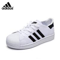 阿迪达斯adidas童鞋新款三叶草系列儿童运动鞋贝壳头板鞋织布网面小白鞋休闲户外鞋 BB2967