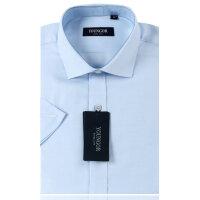 YOUNGOR雅戈尔 男装 商务正装 免烫 蓝色提花 短袖衬衫SNP13320-23